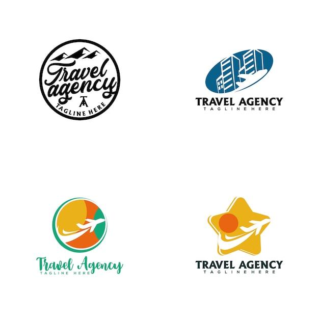 旅行代理店のロゴ Premiumベクター