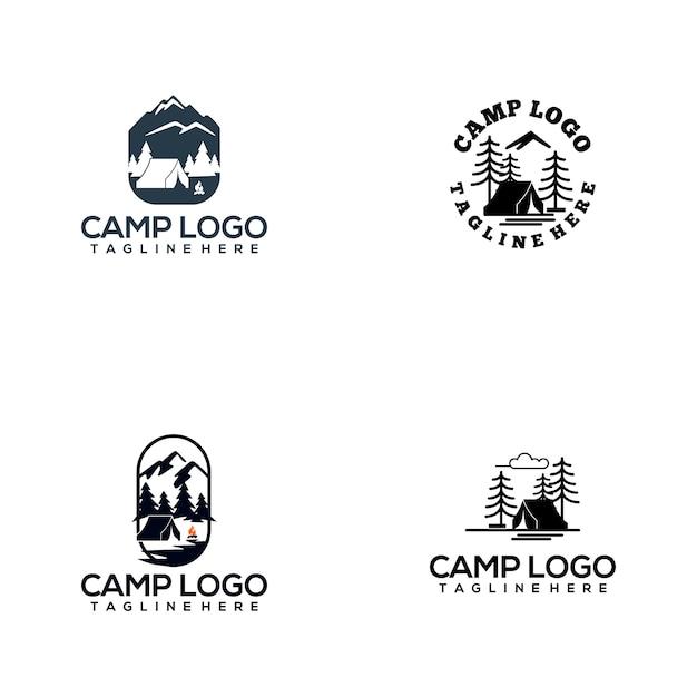 キャンプロゴコレクション Premiumベクター