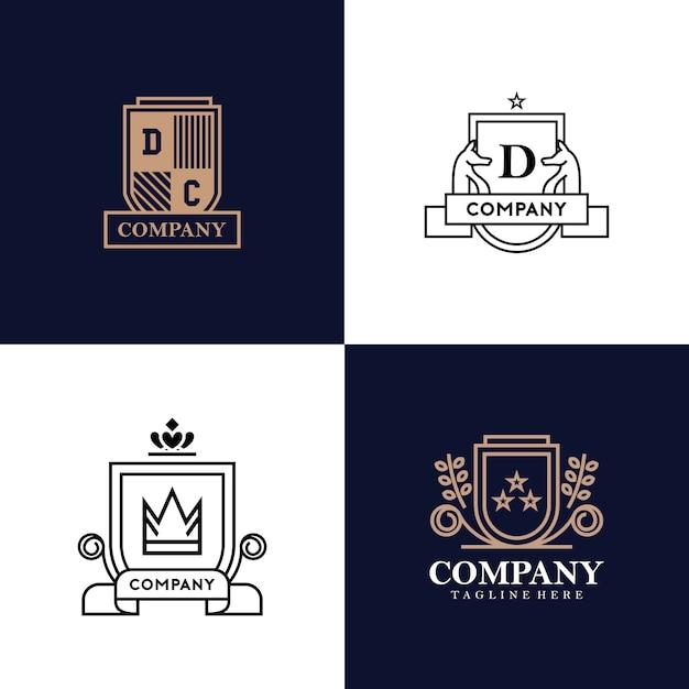 Коллекция логотипов геральдики Premium векторы