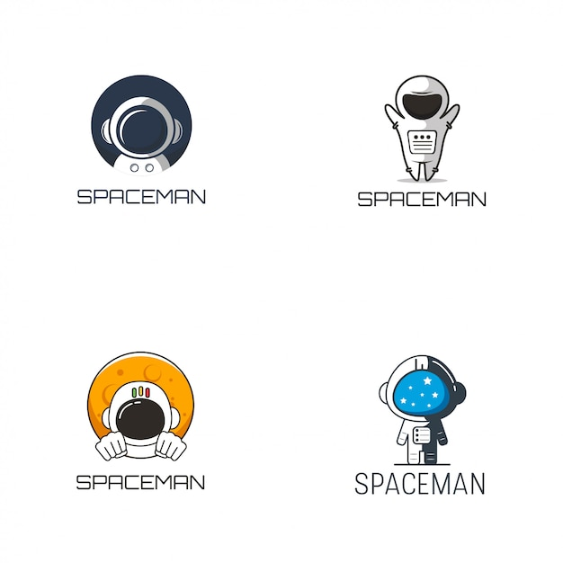 宇宙飛行士のロゴデザイン Premiumベクター