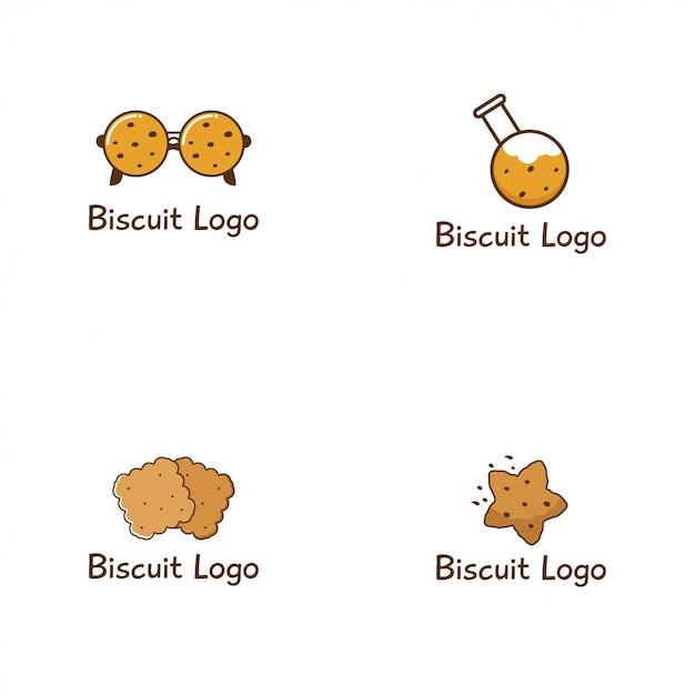 ビスケットロゴデザインコレクション Premiumベクター