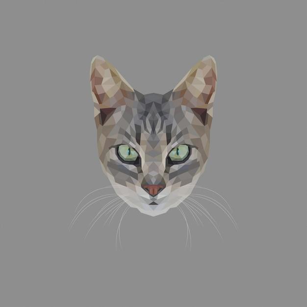 猫低ポリ Premiumベクター