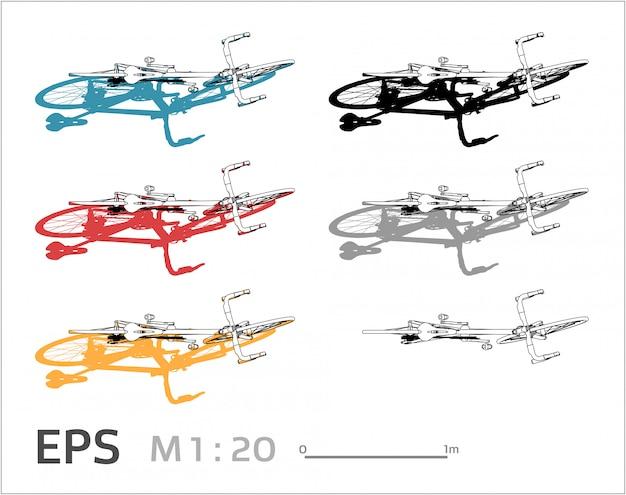 Набор для рисования велосипедов на разные цвета, вид сверху Premium векторы