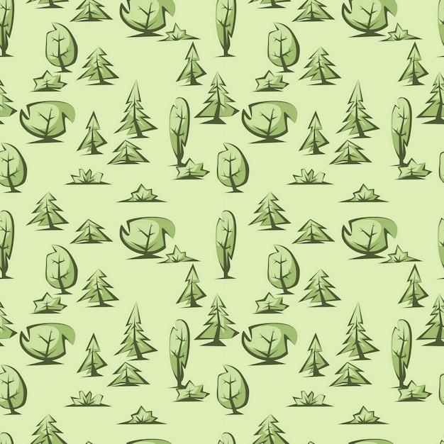 緑の木々のパターン Premiumベクター