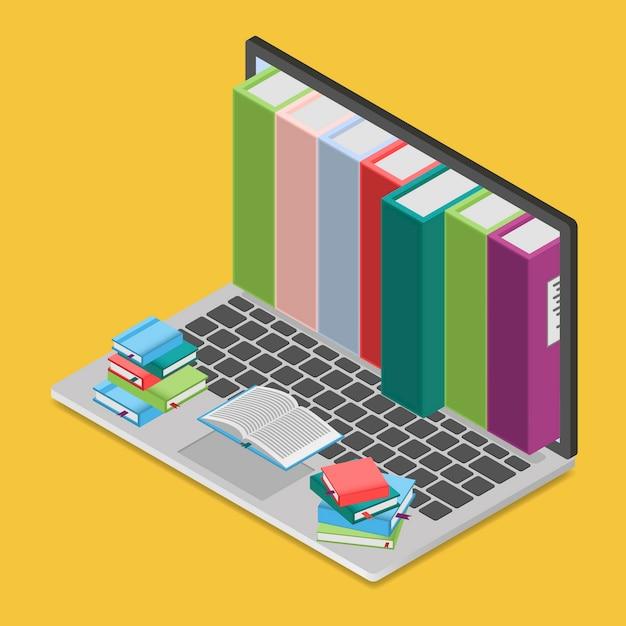 等角投影ビューのオンライン書店、 Premiumベクター