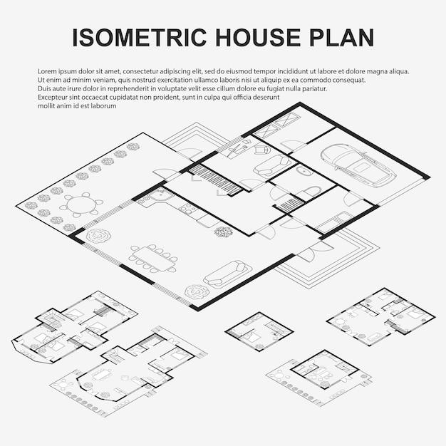 Набор черно-белых архитектурных планов Premium векторы