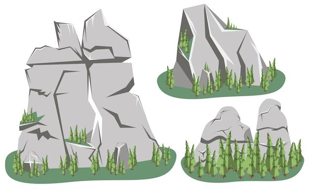 等尺性山の風景です。さまざまな取り付け岩のセット Premiumベクター