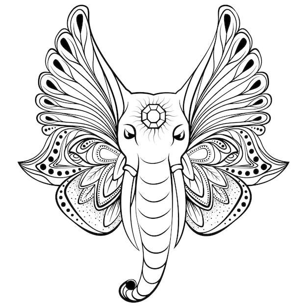 翼を持つ象の代わりに耳。民族のタトゥーアート、ヨガ、自由奔放に生きるデザインに最適です。 Premiumベクター
