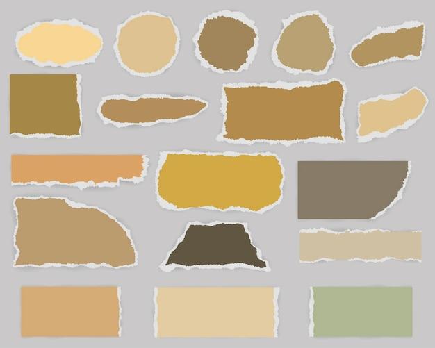 シャドウとヴィンテージ色の引き裂かれた空白の紙のマルチフォームの部分 Premiumベクター