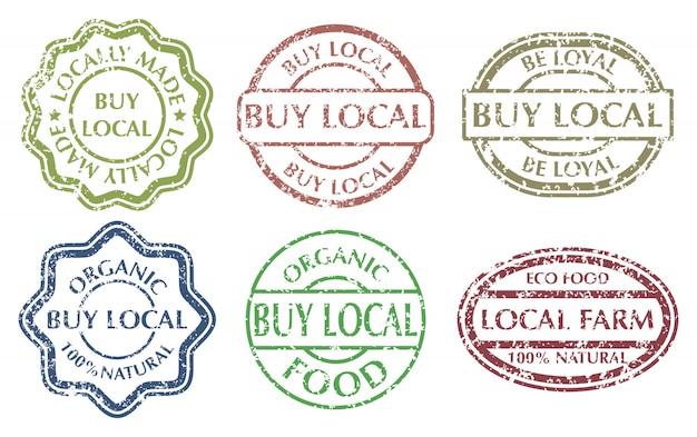 Купить местную вывеску. гранж резиновые разноцветные марки установлены Premium векторы