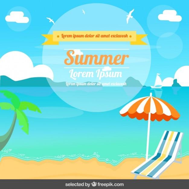 フラットなデザインの夏のイラスト 無料ベクター