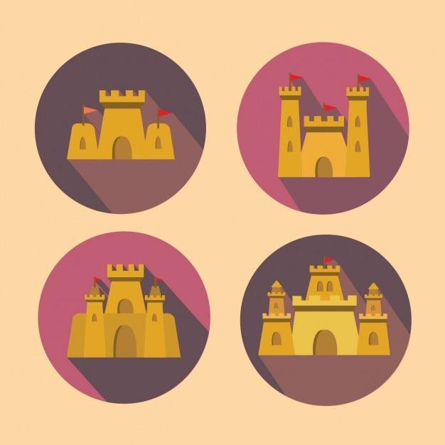 砂の城のコレクション 無料ベクター