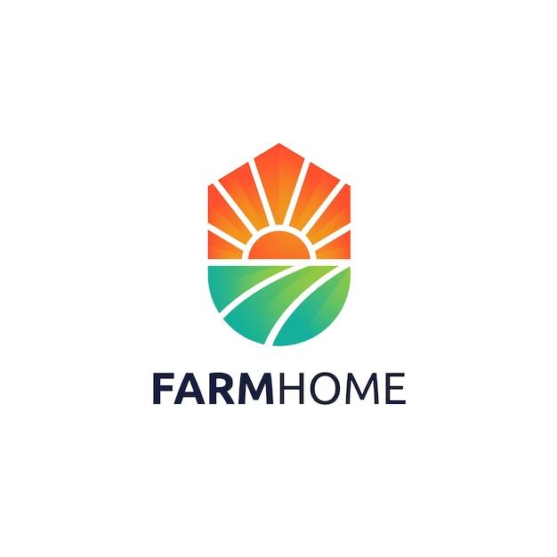 ファームホームのロゴデザイン Premiumベクター