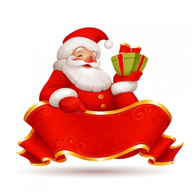 プレゼントと赤いリボンのイラストサンタクロース Premiumベクター