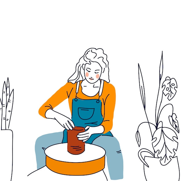 肖像画女性陶器 Premiumベクター