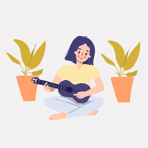 Нарисованная рукой милая девушка играет на гавайской гитаре Premium векторы
