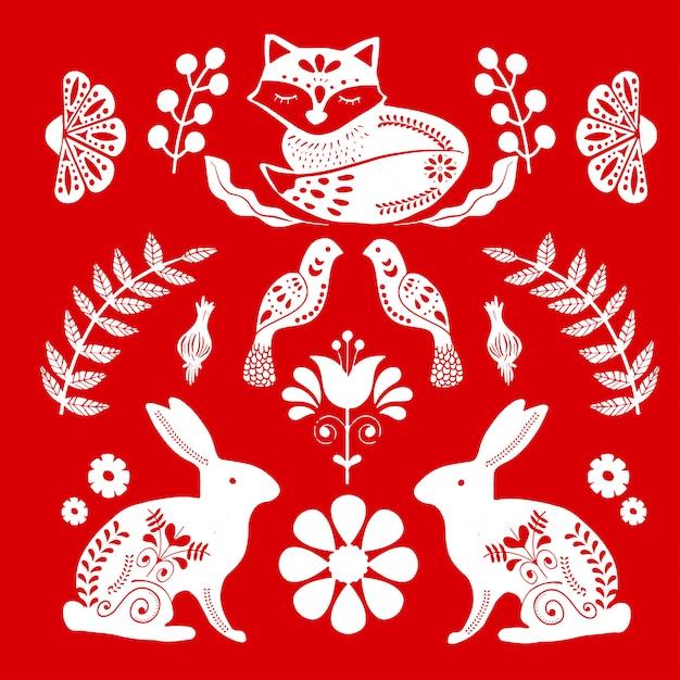 Плакат народного искусства с лисой и кроликами Premium векторы