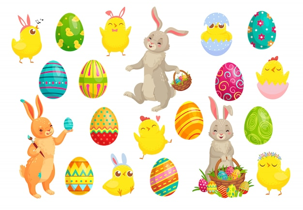 イースターバニーの卵、かわいいウサギ、春のひよこ、カラフルな卵セット Premiumベクター