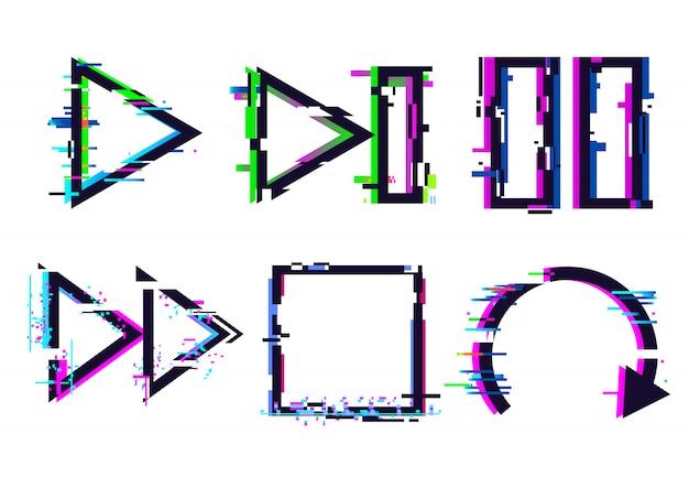 グリッチ音楽アイコン、グリッチ再生一時停止停止アイコン、テレビ信号グリッチおよびデジタルノイズ歪みエフェクトセット Premiumベクター