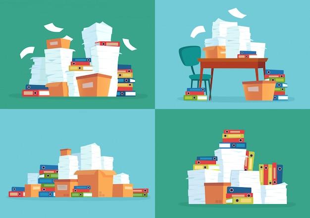 オフィスペーパードキュメント、作業ペーパーの山、ドキュメントフォルダー、書類のドキュメントファイルスタック漫画セット Premiumベクター