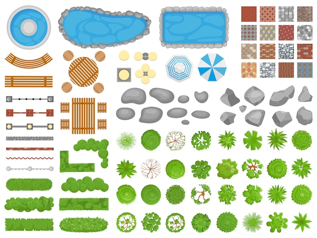 Вид сверху парка предметов. садовая дорожка, мебель для отдыха на открытом воздухе и садовые деревья Premium векторы
