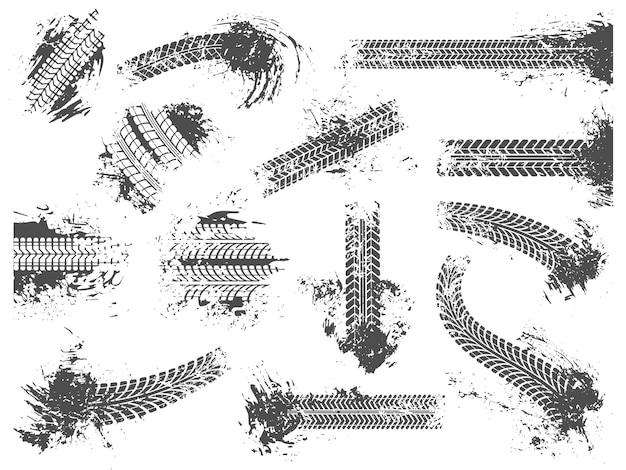 Грязные следы шин. гранжевый гоночный трек, рисунок протектора колесных шин и набор текстур для отпечатков грязных колес Premium векторы