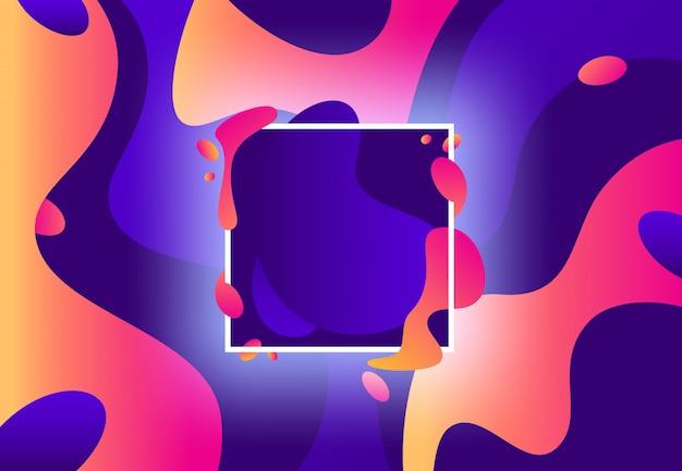 Жидкая рама. абстрактная красочная фиолетовая и современная фиолетовая жидкость формирует фон Premium векторы