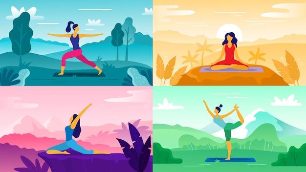 Йога упражнения на природе. отдыхайте на свежем воздухе, занимайтесь фитнесом и здоровым образом жизни. йога представляет плоский набор иллюстрации Premium векторы