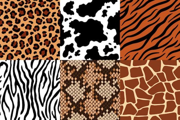 動物の皮のパターン。ヒョウ革、シマウマ、虎の皮。サファリキリン、牛のプリント、ヘビのシームレスパターンセット Premiumベクター