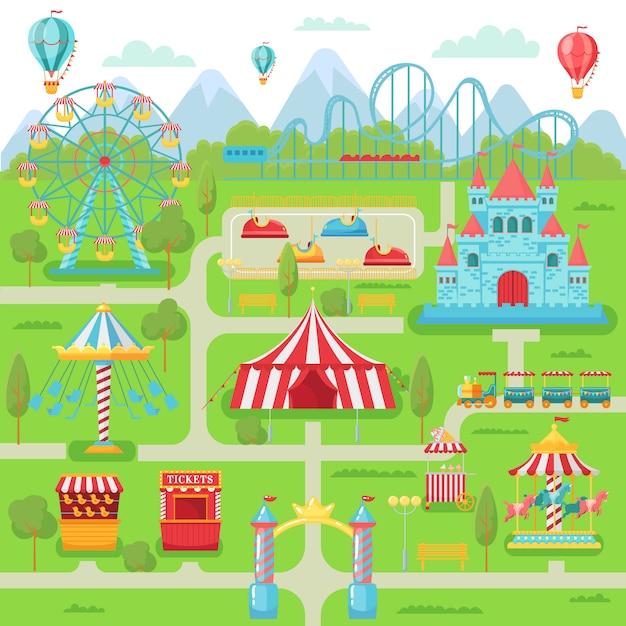 Карта парка развлечений. фестиваль развлечений для семейных развлечений карусель, американские горки и колесо обозрения Premium векторы