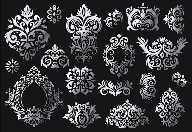 Старинный орнамент барокко. набор декоративных цветочных веточек, роскошных дамасских орнаментов и викторианских саржевых дамасских узоров Premium векторы