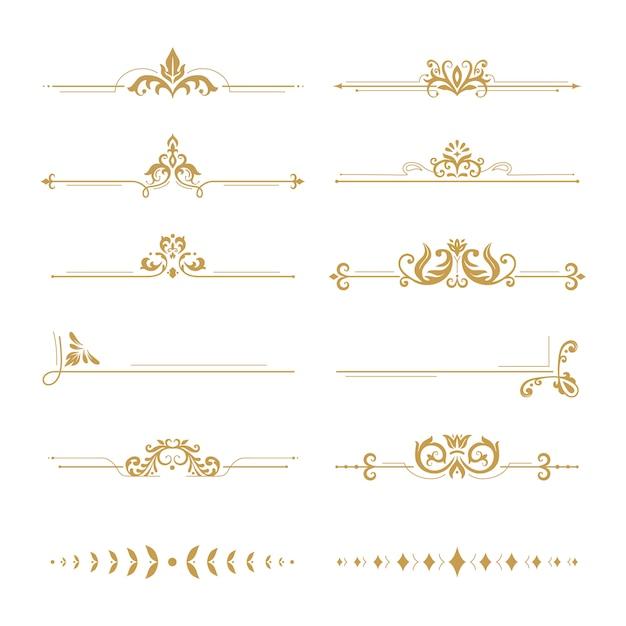 Элегантные дамасские перегородки. урожай бутик цветов делитель, золотой растительный орнамент и свадебный набор рамок элементов дизайна книги Premium векторы