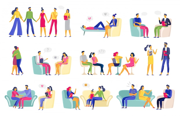 Сеанс психотерапии. психологическая терапия, семейный психолог и сеансы психотерапевта векторная иллюстрация набор Premium векторы