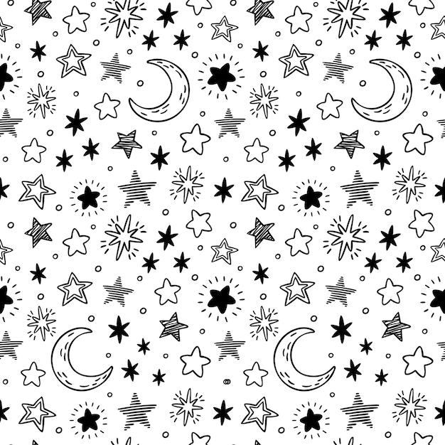 Бесшовные рисованной звёзд. эскиз звездного неба, рисунок каракули звезды и ночной рисунок Premium векторы