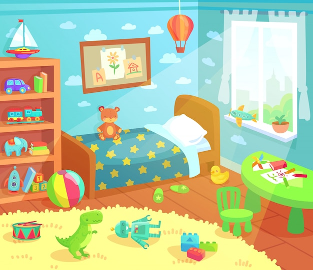 Мультяшный детский интерьер спальни. Premium векторы
