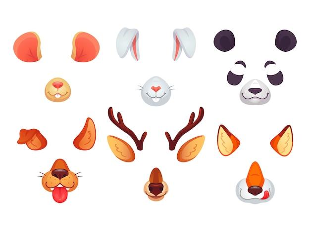面白い動物の耳、舌、そして目。 Premiumベクター