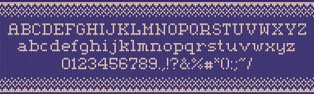 Гадкий свитер шрифта. трикотажные буквы, рождественские свитера и праздничные наряды Premium векторы