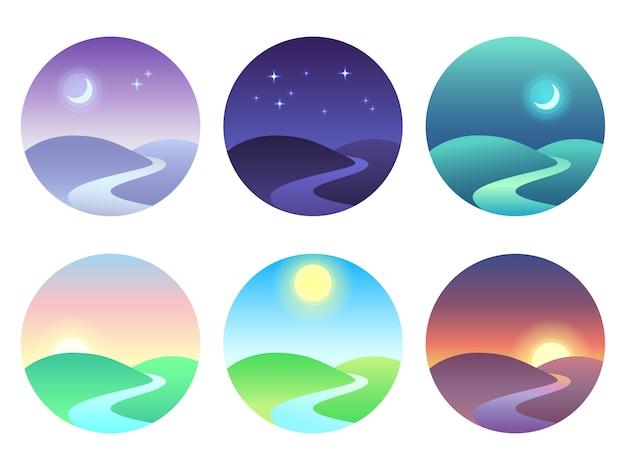 グラデーションでモダンな美しい風景。日の出、夜明け、朝、日、正午、日没、夕暮れ、夜のアイコン。 Premiumベクター