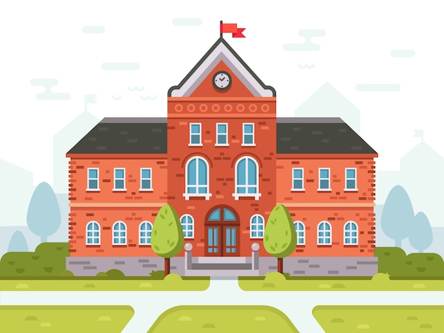学生のための大学キャンパス、高校または大学の建物学生の家の入り口のベクトル図 Premiumベクター