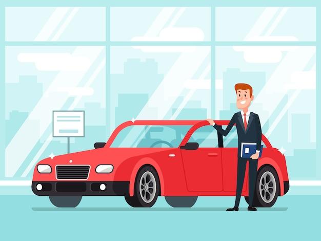 Продавец автомобилей в автосалоне дилеров Premium векторы