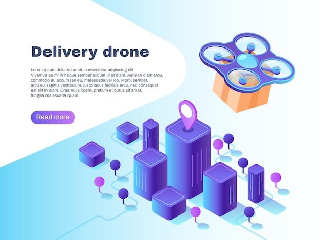 無人無人機による最新の未来的な配達システム Premiumベクター