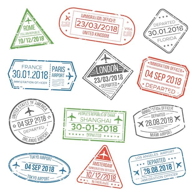 Визовый паспорт или штамп иммиграционной службы аэропорта с указанием страны. Premium векторы