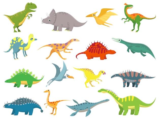 かわいい赤ちゃんの恐竜。恐竜ドラゴンと面白い恐竜のキャラクター。 Premiumベクター
