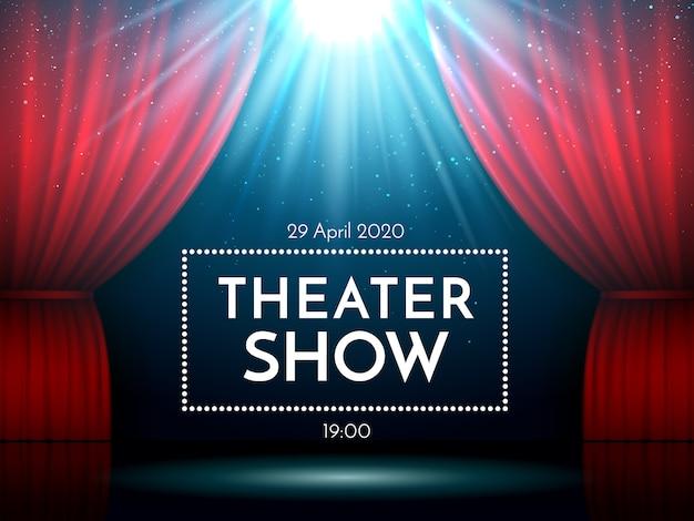 スポットライトで照らされたステージ上の赤いカーテンを開きます。ドラマティックシアターやオペラショーのシーン。 Premiumベクター