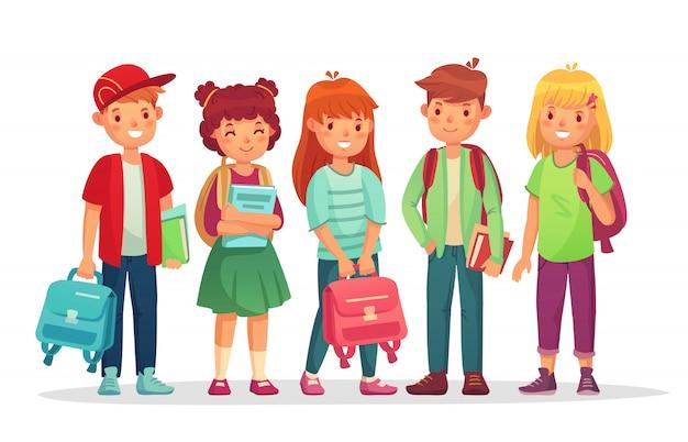生徒のグループ。学校の男の子と女の子の漫画のキャラクター Premiumベクター