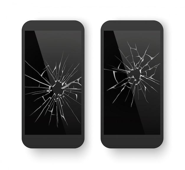 割れた画面で壊れた携帯電話 Premiumベクター