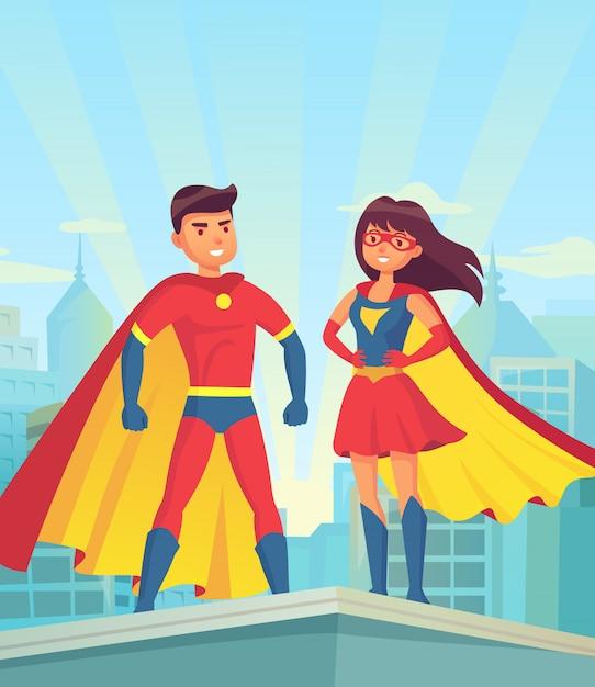 コミックのスーパーヒーローのカップル、漫画の男と女の街の屋根の上の赤いマント Premiumベクター