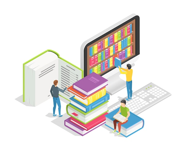 Крошечные люди с огромными книгами. дистанционное обучение и учебные пособия, концепция онлайн-библиотеки Premium векторы