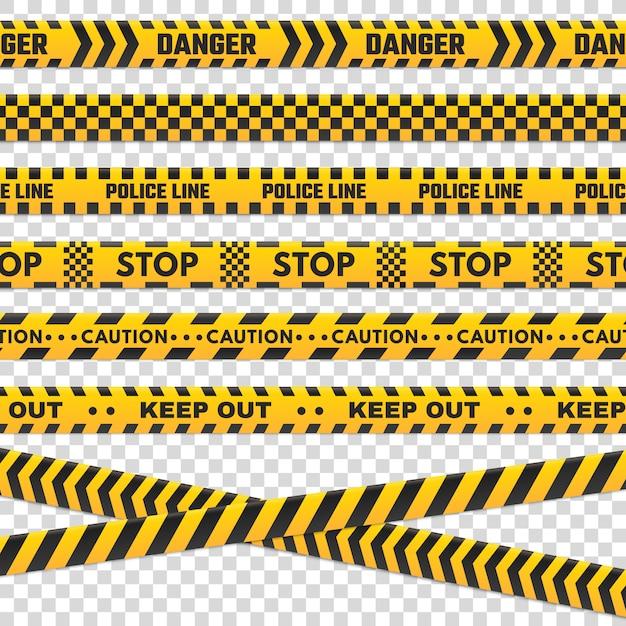 注意ストライプストライプ。孤立した黒と黄色の危険警察ラインが犯罪現場のために交差しないセキュリティラインサインまたはバリケードテープベクトルを設定 Premiumベクター