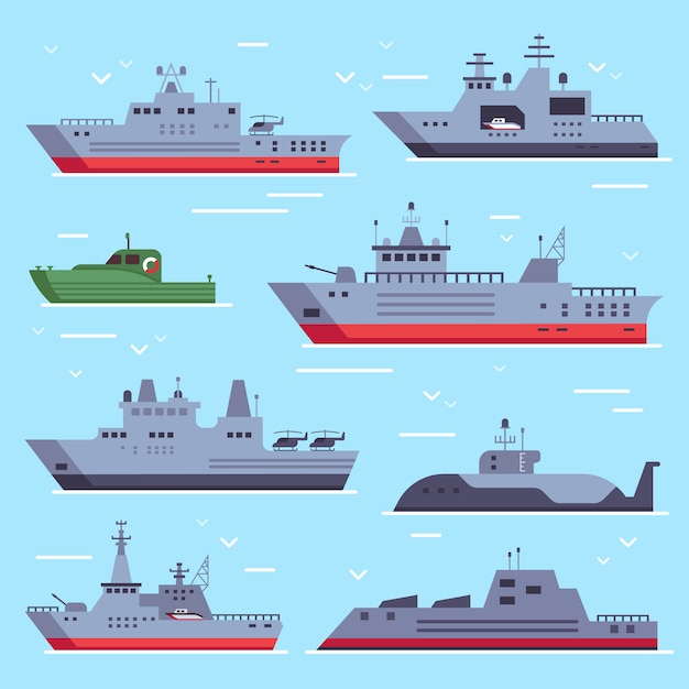 Боевые корабли вмф, катер морской безопасности и боевой корабль Premium векторы